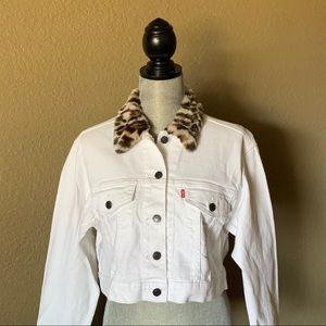 Levis White jean jacket with leopard print collar